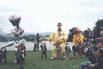 "Yeovil showground, the YDR live fun entertainment stage at the ""GIANTS"" event.  23rd July  Larger than life 'Ali G' at the showground"