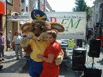 There you go, too much cheese and he's hugging the ladies! July 28th in Middle Street, Yeovil, raising money for the Wizz Kidz charity, with Lunn Polly travel agency.
