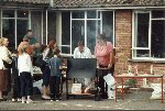 The barbecue proves to be popular.  Parcroft School, Yeovil, 14-Jul-2001.