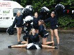 The Silhouetes finish their performance in style, despite the wet conditions.  Fete at Sydney Gardens, Yeovil, 18-Aug-2001