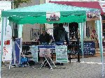 The YDR FM team promote the forthcoming Yeovil Traders' Charity Grasstrack.  Yeovil Bandstand, 20-Oct-2001