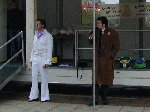 Elvis waits for his next 'victim'.  Children In Need - Quedam Yeovil, 16-Nov-2001