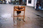 Danny D does the honours in the stocks, raising money for the Yeovil Carnival fun 